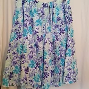 Woman Within blue floral linen skirt 3X